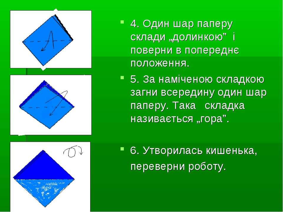 """4. Один шар паперу склади """"долинкою"""" і поверни в попереднє положення. 5. За н..."""