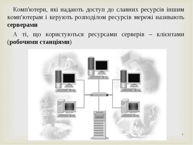 * Комп'ютери, які надають доступ до славних ресурсів іншим комп'ютерам і керу...
