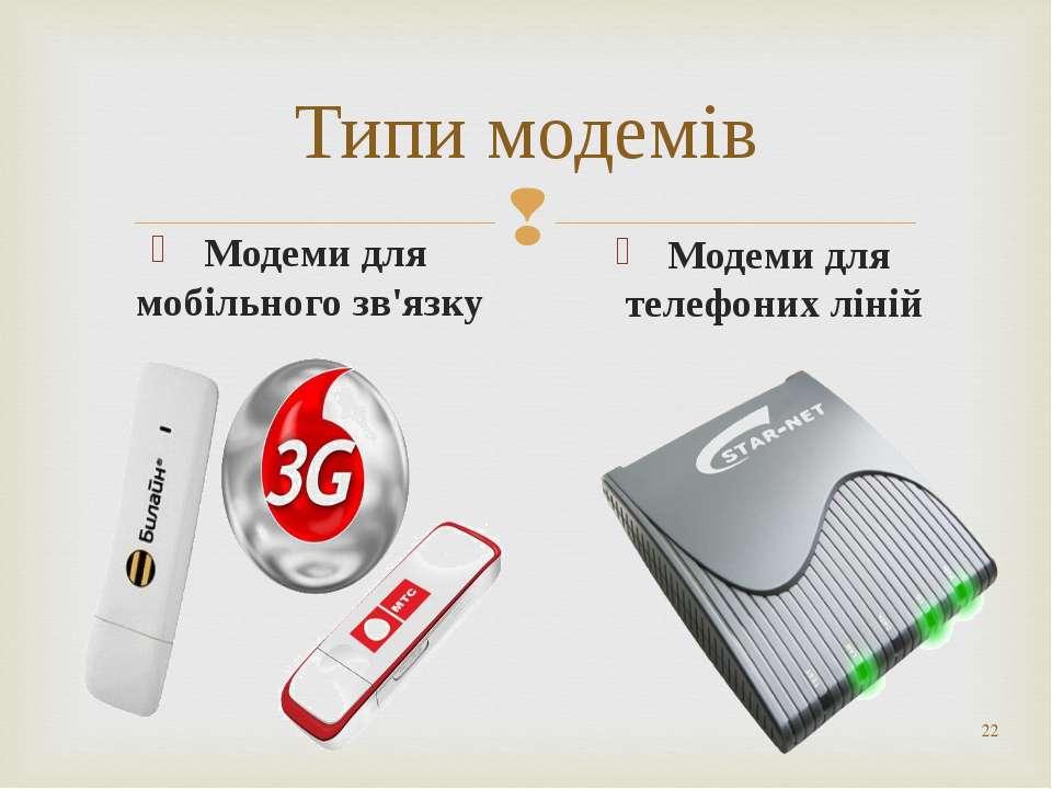 * Типи модемів Модеми для мобільного зв'язку Модеми для телефоних ліній