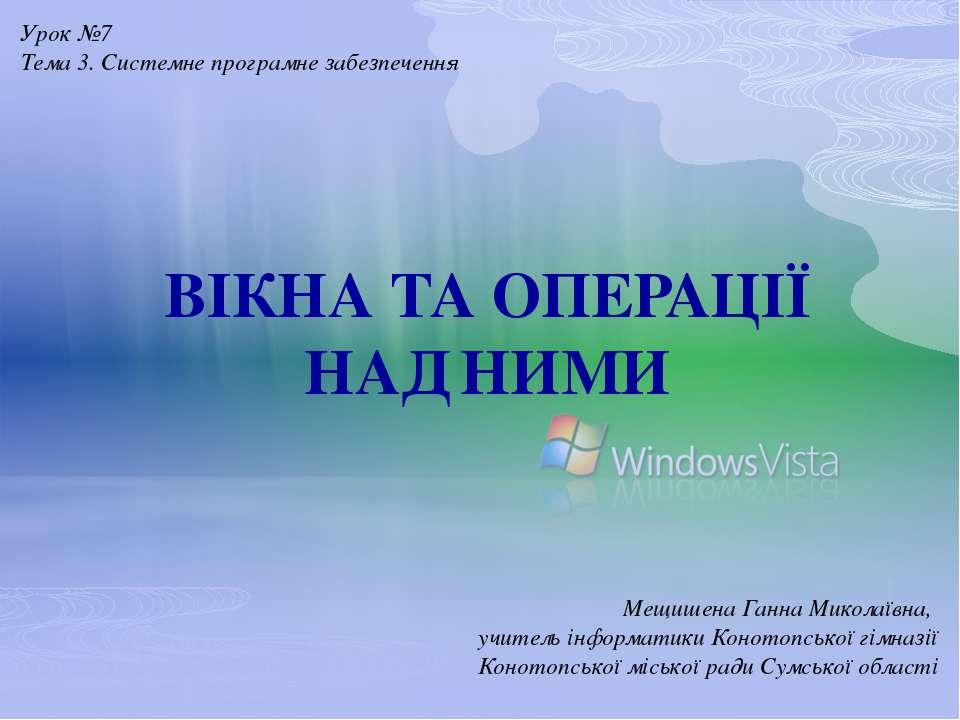 ВІКНА ТА ОПЕРАЦІЇ НАД НИМИ Мещишена Ганна Миколаївна, учитель інформатики Кон...