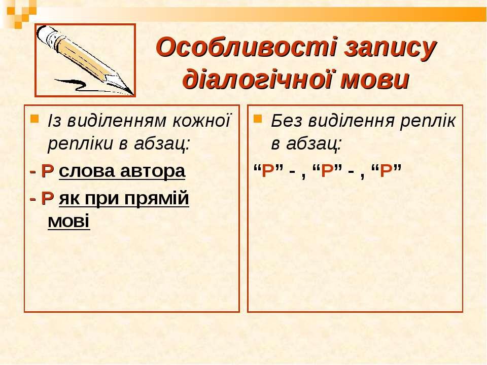 Особливості запису діалогічної мови Із виділенням кожної репліки в абзац: - Р...
