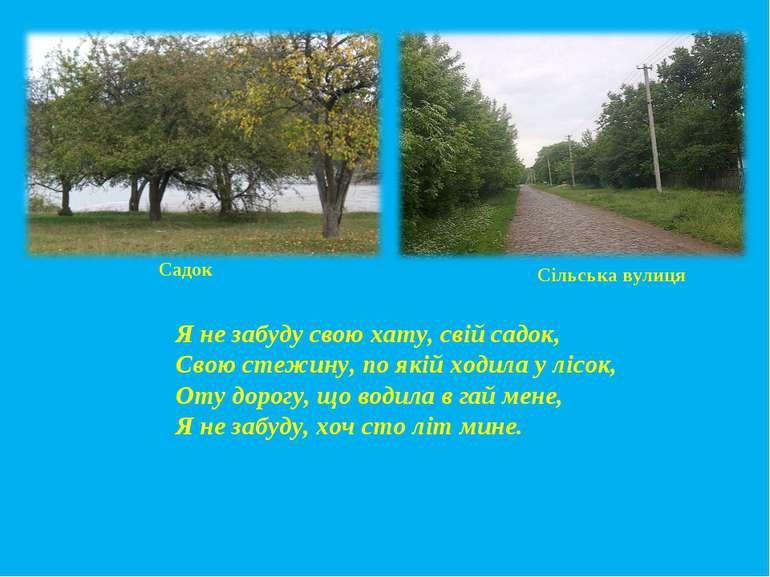 Я не забуду свою хату, свій садок, Свою стежину, по якій ходила у лісок, Оту ...