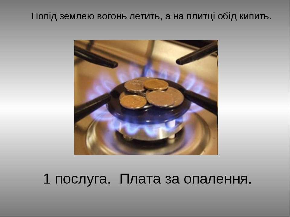 Попід землею вогонь летить, а на плитці обід кипить. 1 послуга. Плата за опал...