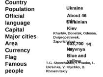 Country Population Official language Capital Major cities Area Currency Flag ...