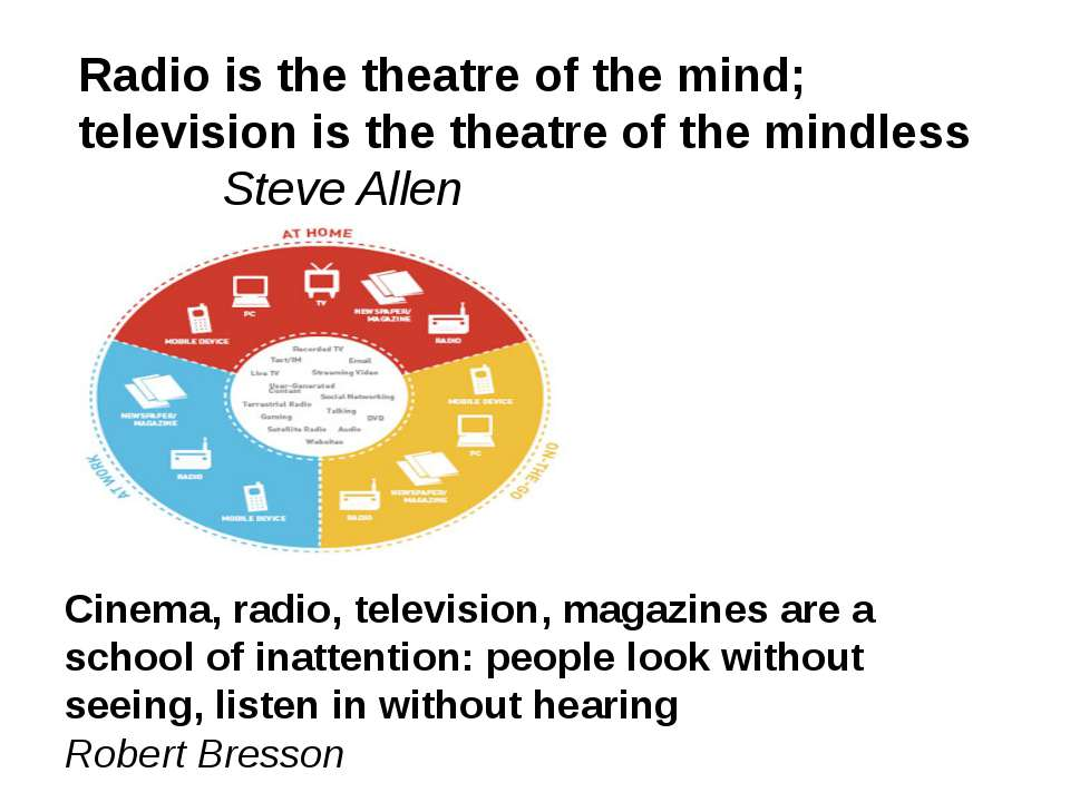 Radio is the theatre of the mind; television is the theatre of the mindless S...