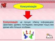 Комунікація- це процес обміну інформацією (фактами, ідеями, поглядами, емоція...