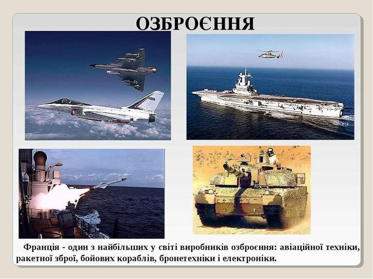 ОЗБРОЄННЯ Франція - один з найбільших у світі виробників озброєння: авіаційно...
