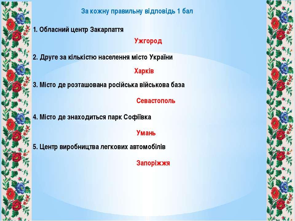 1. Обласний центр Закарпаття 2. Друге за кількістю населення місто України 3....