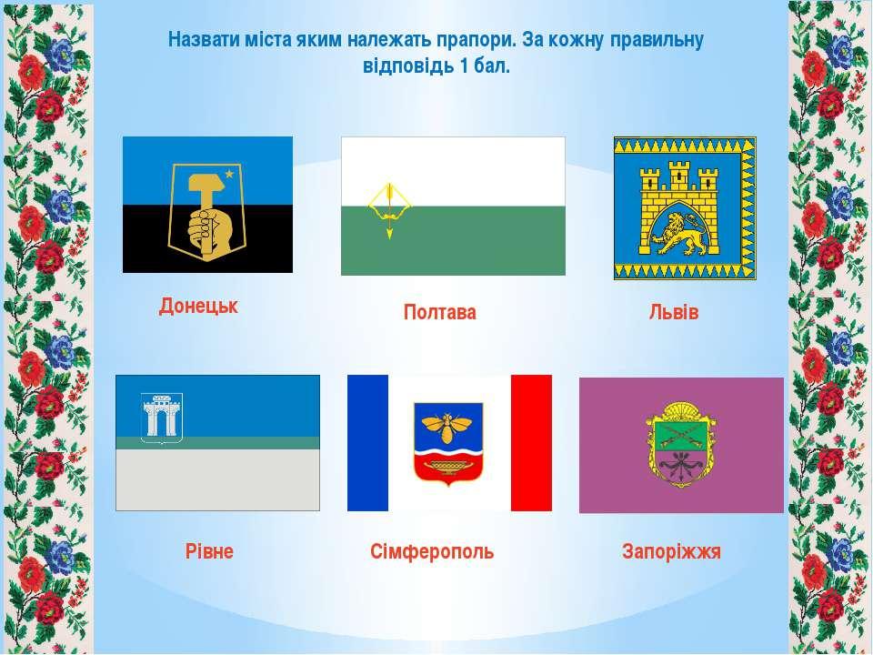 Назвати міста яким належать прапори. За кожну правильну відповідь 1 бал. Доне...