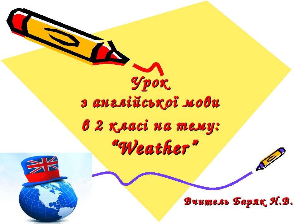"""Урок з англійської мови в 2 класі на тему: """"Weather"""" Вчитель Баряк Н.В."""