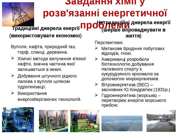 Завдання хімії у розв'язанні енергетичної проблеми Традиційні джерела енергії...