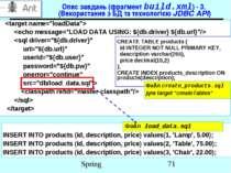 Опис завдань (фрагмент build.xml) - 3. (Використання з БД та технологією JDBC...