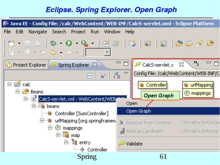 Eclipse. Spring Explorer. Open Graph Open Graph Spring