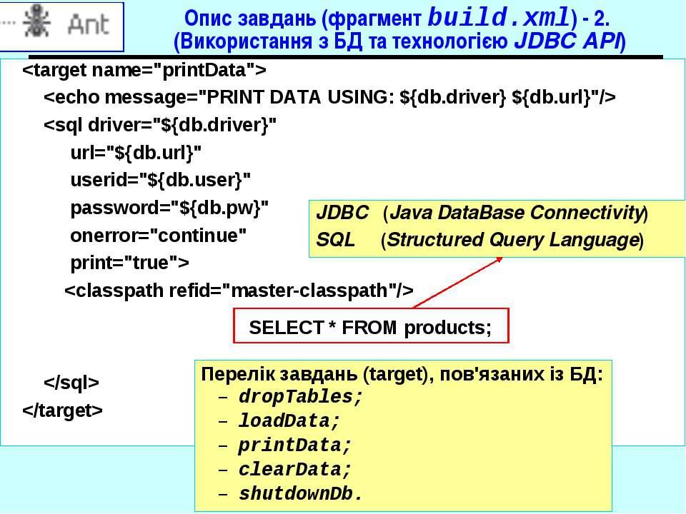 Опис завдань (фрагмент build.xml) - 2. (Використання з БД та технологією JDBC...