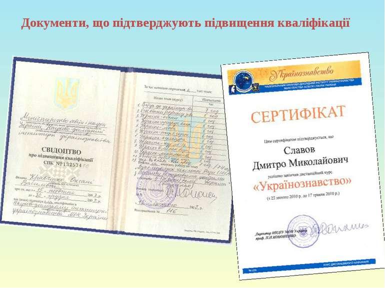 Документи, що підтверджують підвищення кваліфікації