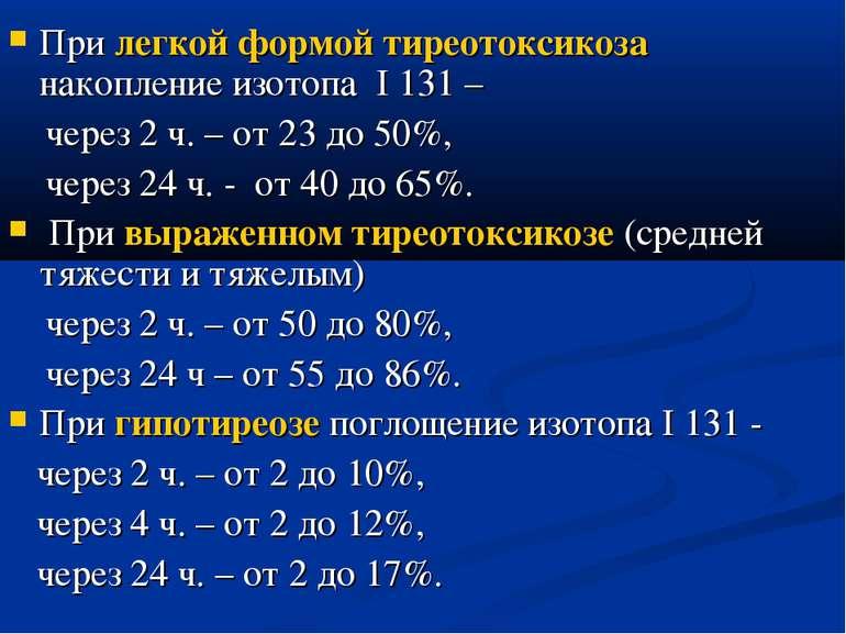 При легкой формой тиреотоксикоза накопление изотопа I 131 – через 2 ч. – от 2...