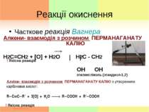Реакції окиснення Часткове реакція Вагнера Алкени- взаємодія з розчином ПЕРМА...