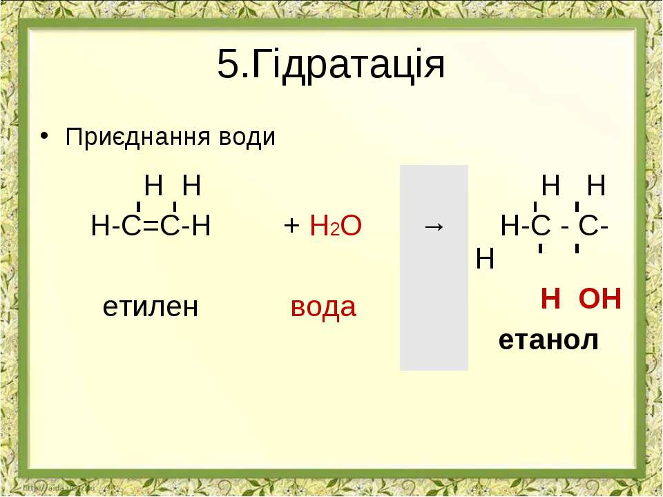 5.Гідратація Приєднання води Н Н Н-С=С-Н етилен + H2O вода → Н Н Н-С - С-Н Н ...
