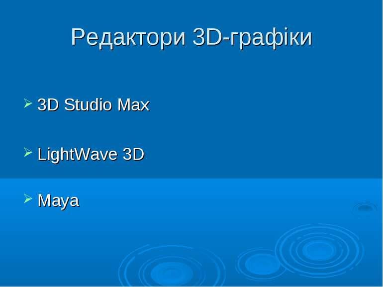Редактори 3D-графіки 3D Studio Max LightWave 3D Maya