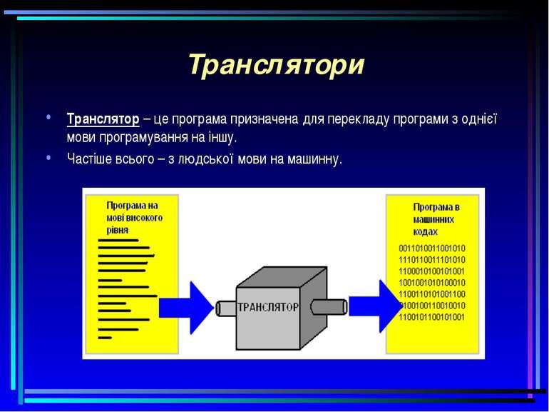 Транслятори Транслятор – це програма призначена для перекладу програми з одні...