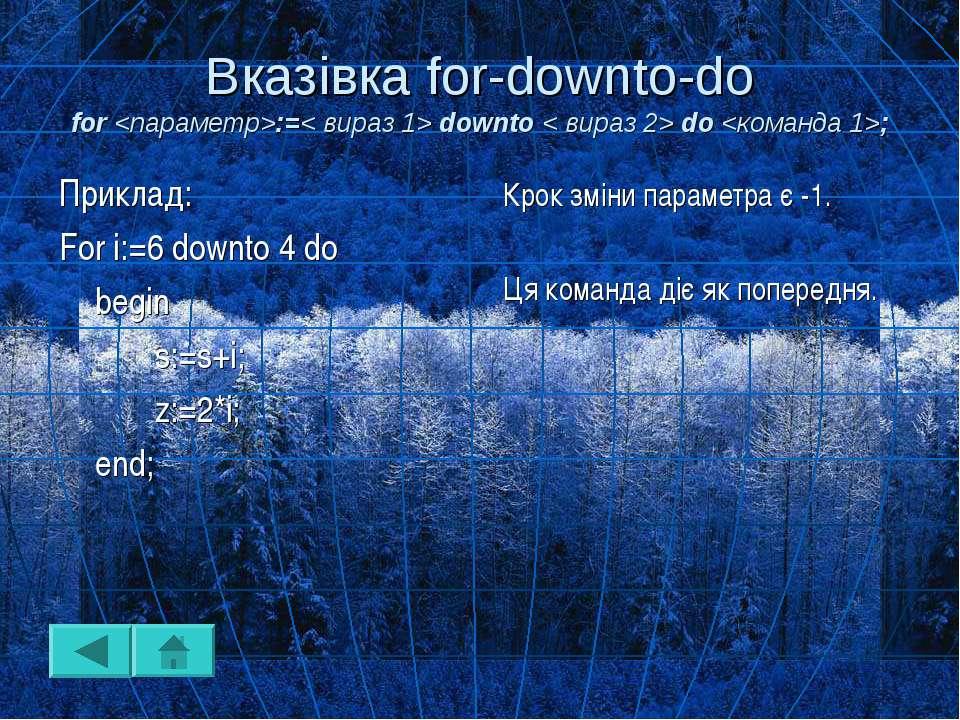 Вказівка for-downto-do for :=< вираз 1> downto < вираз 2> do ; Крок зміни пар...