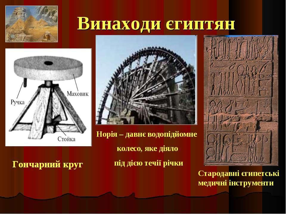 Винаходи єгиптян Норія – давнє водопідйомне колесо, яке діяло під дією течії ...