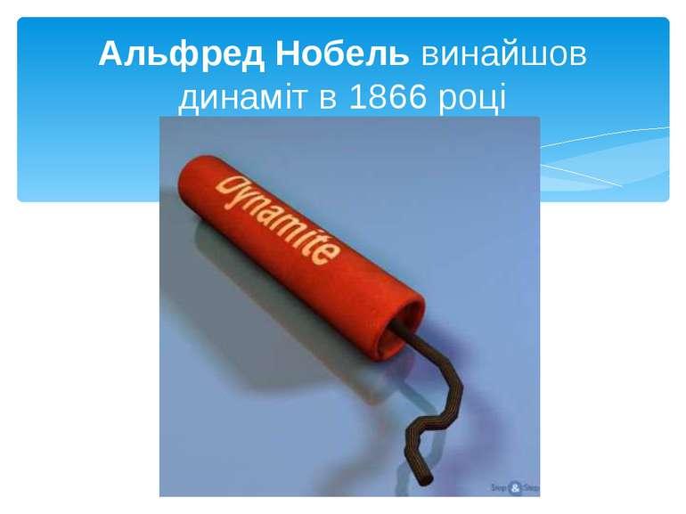 Альфред Нобель винайшов динаміт в 1866 році