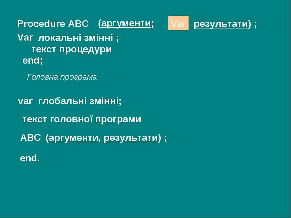 Procedure ABC (аргументи; Var локальні змінні ; текст процедури var глобальні...