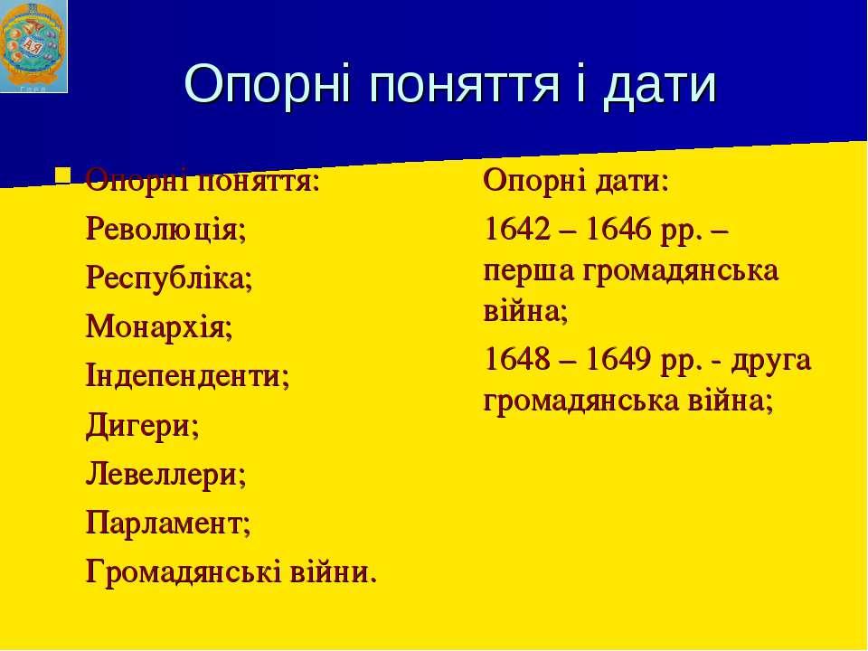 Опорні поняття і дати Опорні поняття: Революція; Республіка; Монархія; Індепе...