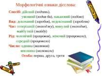 Морфологічні ознаки дієслова: Спосіб: дійсний (ходить), умовний (ходив би), н...