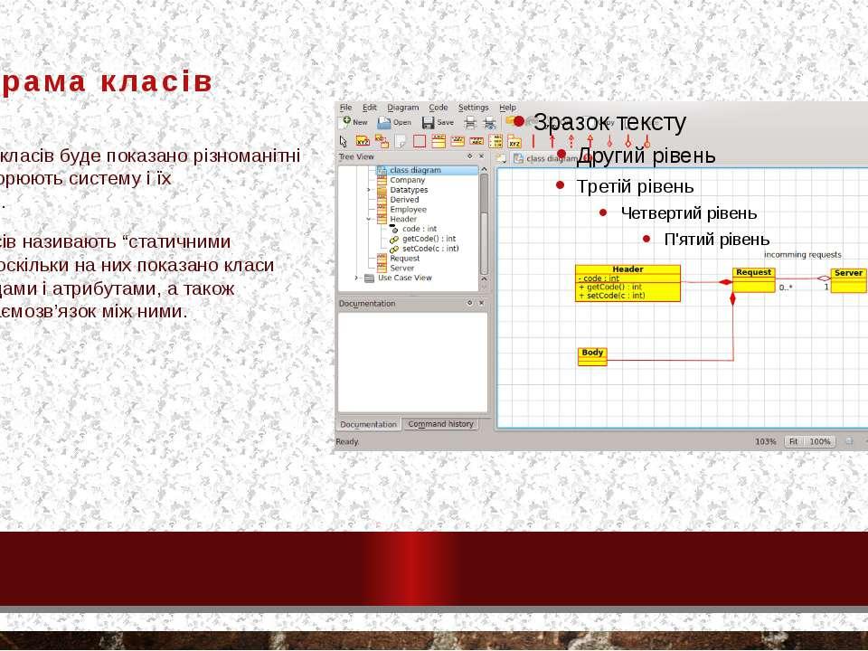 Діаграма класів На діаграмах класів буде показано різноманітні класи, які утв...