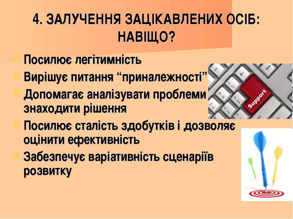 4. ЗАЛУЧЕННЯ ЗАЦІКАВЛЕНИХ ОСІБ: НАВІЩО? Посилює легітимність Вирішує питання ...