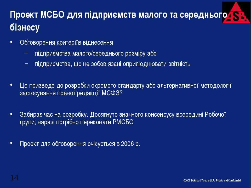 Проект МСБО для підприємств малого та середнього бізнесу Обговорення критерії...