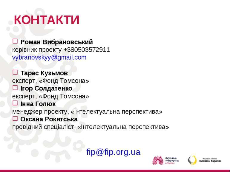 КОНТАКТИ Роман Вибрановський керівник проекту +380503572911 vybranovskyy@gmai...