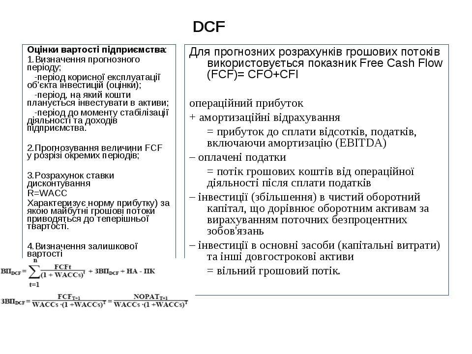 DCF Для прогнозних розрахунків грошових потоків використовується показник Fre...