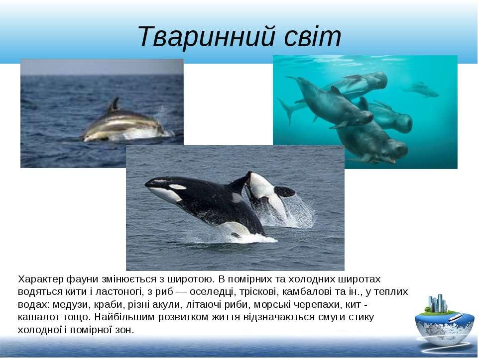 Тваринний світ Характер фауни змінюється з широтою. В помірних та холодних ши...