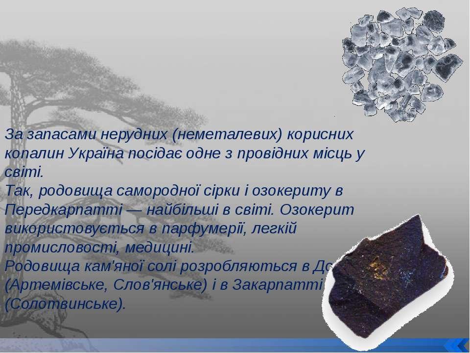 За запасами нерудних (неметалевих) корисних копалин Україна посідає одне з пр...