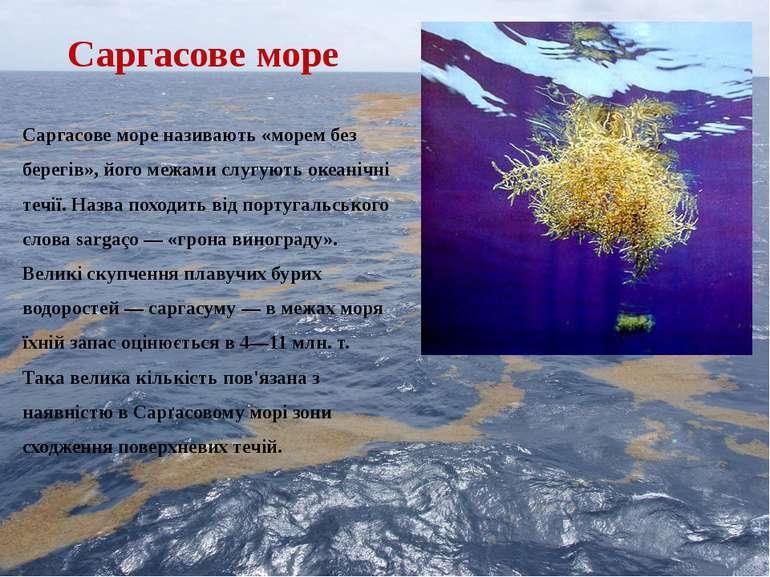 Саргасове море Саргасове море називають «морем без берегів», його межами слуг...
