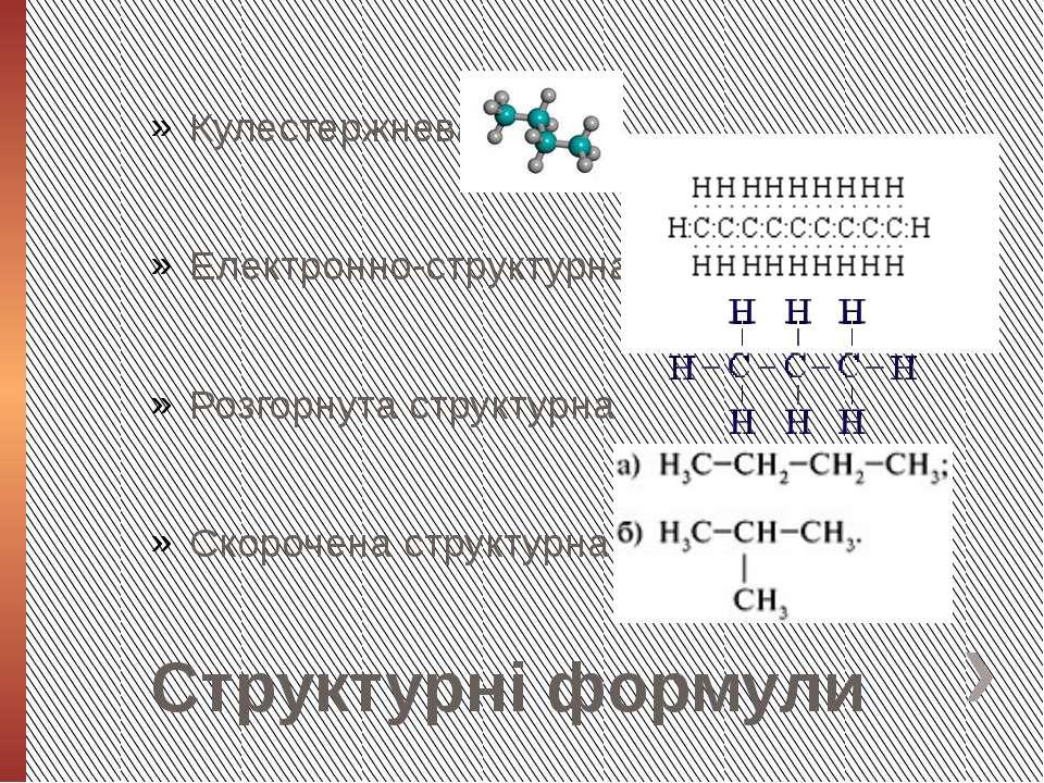 Структурні формули Кулестержнева Електронно-структурна Розгорнута структурна ...