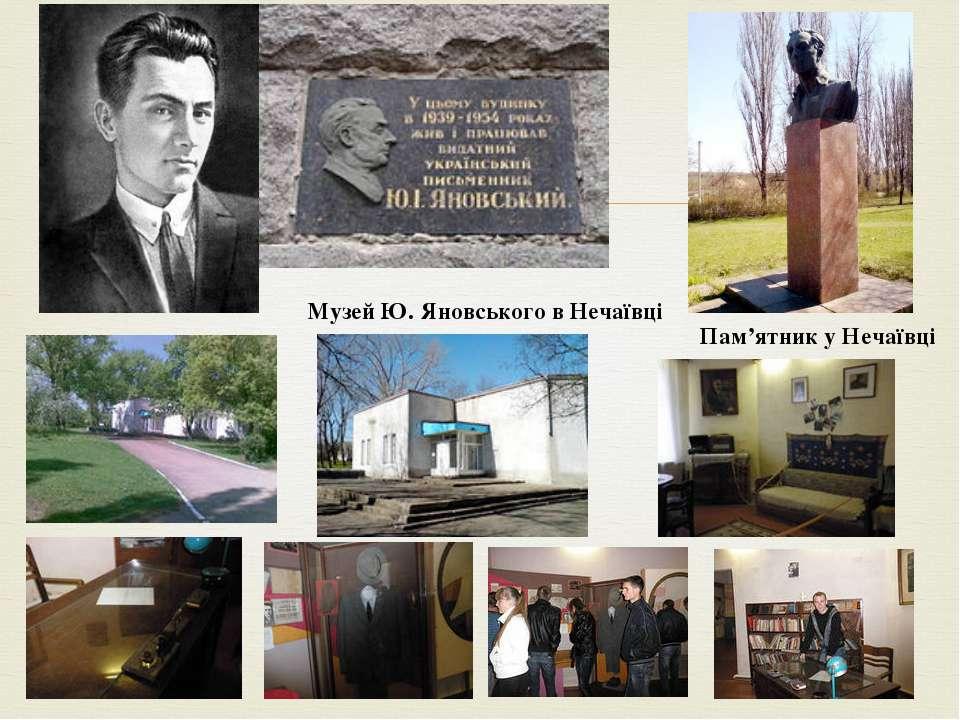 Пам'ятник у Нечаївці Музей Ю. Яновського в Нечаївці
