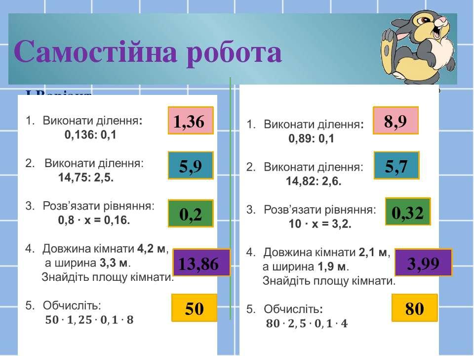 Самостійна робота І Варіант ІІ варіант 1,36 13,86 0,2 5,9 50 8,9 5,7 0,32 3,9...