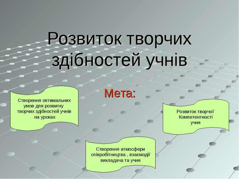 Розвиток творчих здібностей учнів Мета: Створення оптимальних умов для розвит...