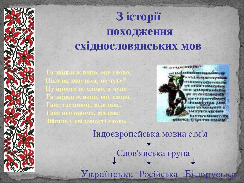 З історії походження східнословянських мов Та звідки ж воно, оце слово, Нікол...
