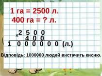 1 га = 2500 л. 400 га = ? л. 2 5 0 0 4 0 0 Х ________________________ 1 0 0 0...
