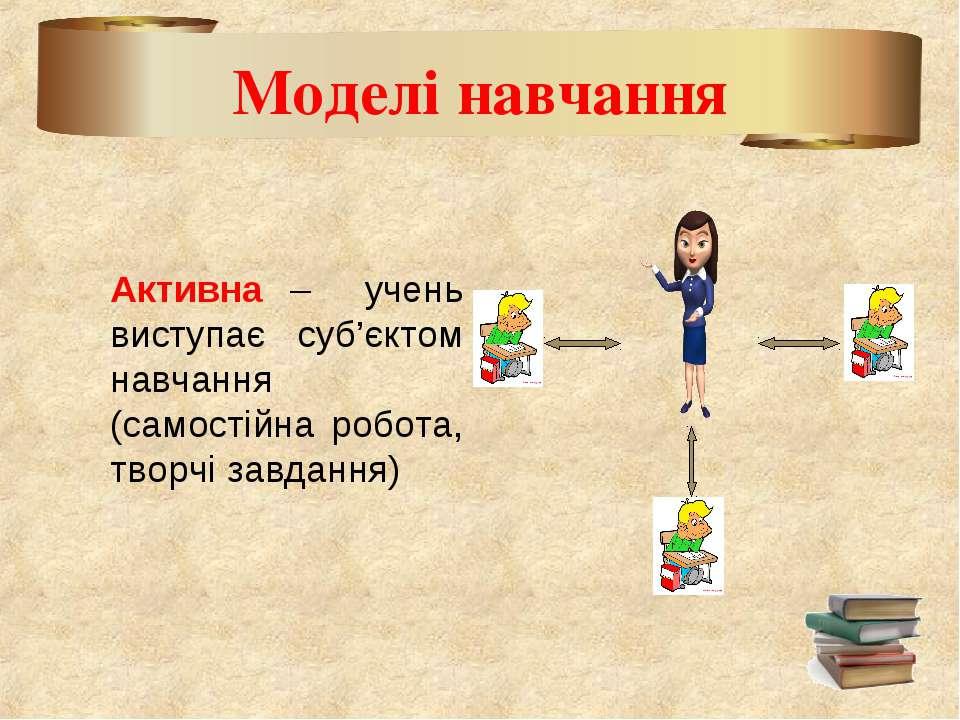 Моделі навчання Активна – учень виступає суб'єктом навчання (самостійна робот...