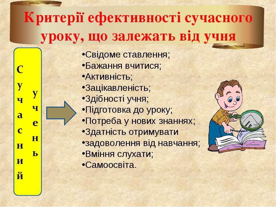 Критерії ефективності сучасного уроку, що залежать від учня Свідоме ставлення...