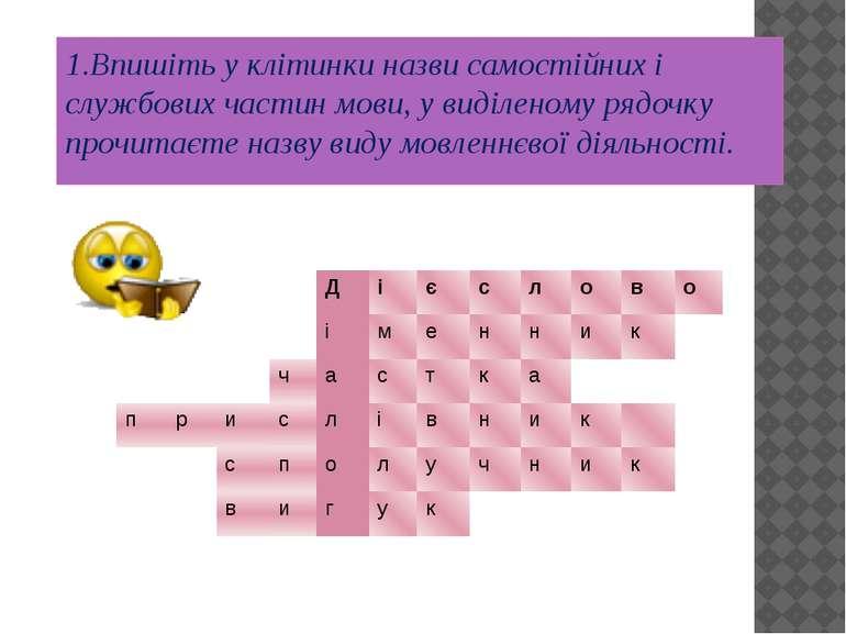 1.Впишіть у клітинки назви самостійних і службових частин мови, у виділеному ...
