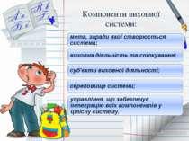 Компоненти виховної системи: