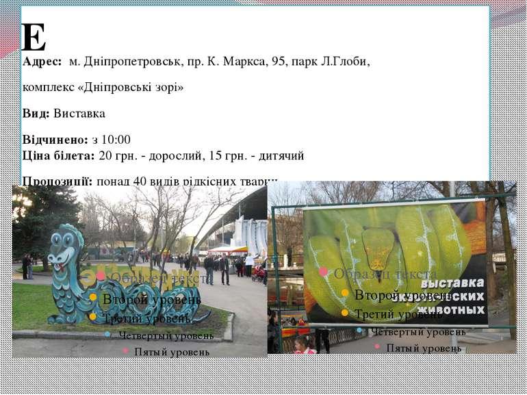 Екзотаріум Адрес: м. Дніпропетровськ, пр. К. Маркса, 95, парк Л.Глоби, компл...