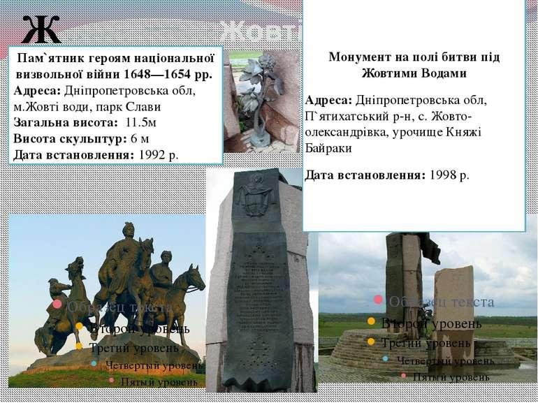 Жовті Води Ж Пам`ятник героям національної визвольної війни 1648—1654 рр. Адр...